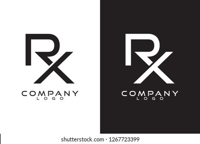Initial Letter rx/xr Logo Template Vector Design with black and white background