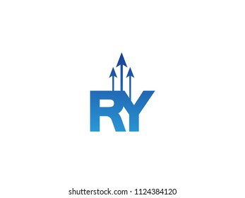 Initial Letter RY Arrow Chart Finance Business