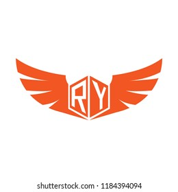 Initial Letter RY Logo Design with Wings
