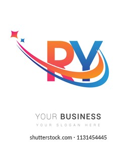 initial letter RY logotype company name colored orange, red and blue swoosh star design. vector logo for business and company identity.
