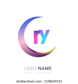 initial letter RY logotype company name, coloreful and swoosh design. vector logo for business and company identity.