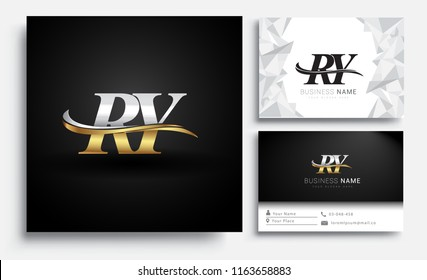 initial letter RY logotype company name colored gold and silver swoosh design. Vector sets for business identity on white background.
