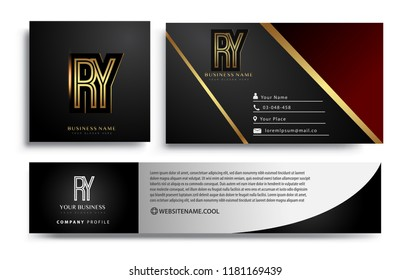 initial letter RY logotype company name colored gold elegant design. Vector sets for business identity on black background.