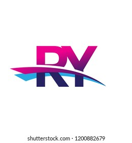 initial letter RY logotype company name colored blue and magenta swoosh design. vector logo for business and company