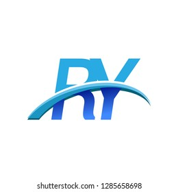 initial letter RY logotype company name colored blue and swoosh design. vector logo for business and company identity.