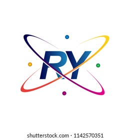 initial letter RY logotype science icon colored blue, red, green and yellow swoosh design. vector logo for business and company identity.
