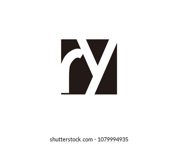 Initial letter ry lowercase logo black and white