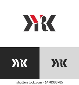 Initial Letter ry yr with arrow shape uppercase overlap modern logo design template. Suitable for business, consulting group company.