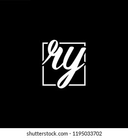 Initial letter RY YR minimalist art monogram shape logo, white color on black background