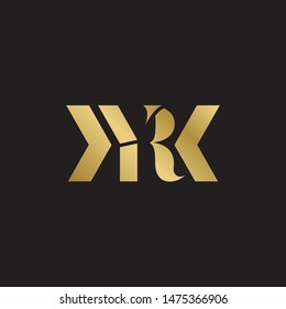 Initial letter ry yr uppercase modern logo design template elements. Gold letter Isolated on black  background. Suitable for business, consulting group company.