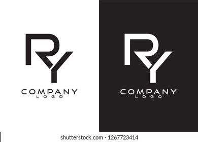Initial Letter ry/yr Logo Template Vector Design with black and white background
