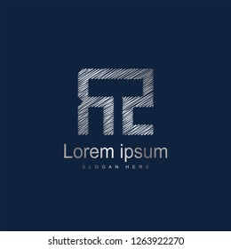 Initial Letter RZ Logo Template Vector Design. Silver letter logo