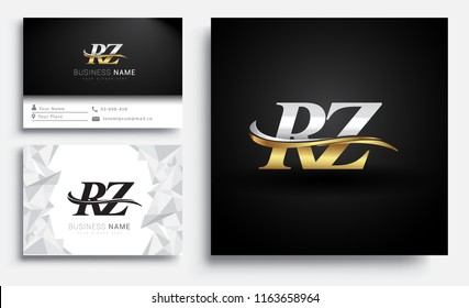 initial letter RZ logotype company name colored gold and silver swoosh design. Vector sets for business identity on white background.