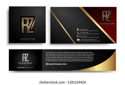 initial letter RZ logotype company name colored gold elegant design. Vector sets for business identity on black background.