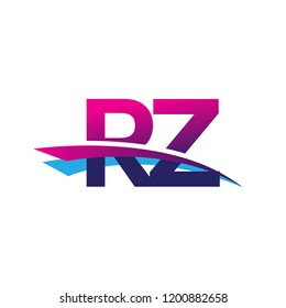 initial letter RZ logotype company name colored blue and magenta swoosh design. vector logo for business and company