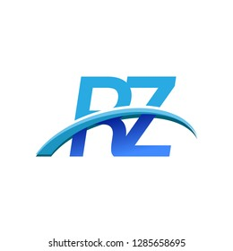 initial letter RZ logotype company name colored blue and swoosh design. vector logo for business and company identity.
