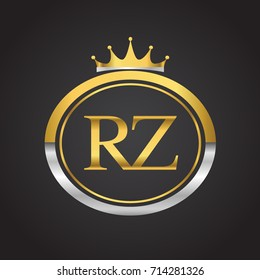 initial letter RZ logotype company name with oval shape and crown, gold and silver color. vector logo for business and company identity.