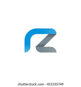 initial letter rz modern linked circle round lowercase logo blue gray