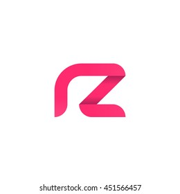 initial letter rz modern linked circle round lowercase logo pink