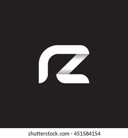 initial letter rz modern linked circle round lowercase logo white black