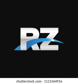 Initial letter RZ, overlapping movement swoosh logo, metal silver blue color on black background