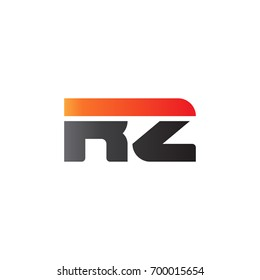 Initial letter RZ, straight linked line bold logo, gradient fire red black colors