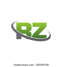 initial letter RZ swoosh ring company logo green gray