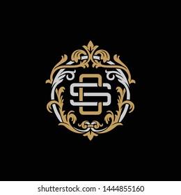 Initial letter S and C, SC, CS, decorative ornament emblem badge, overlapping monogram logo, elegant luxury silver gold color on black background