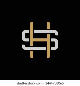 Initial letter S and H, SH, HS, overlapping interlock logo, monogram line art style, silver gold on black background