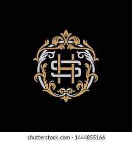 Initial letter S and H, SH, HS, decorative ornament emblem badge, overlapping monogram logo, elegant luxury silver gold color on black background