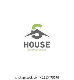 Initial Letter S House Real Estate Logo Design