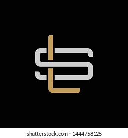 Initial letter S and L, SL, LS, overlapping interlock logo, monogram line art style, silver gold on black background
