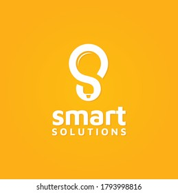 Initial Letter S with Light Bulb Lamp negative space for smart solutions study science creative idea logo design