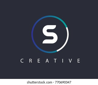 Initial Letter S logo Design Template With Circle Colored
