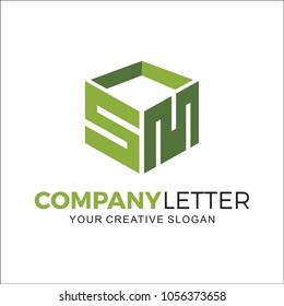 Initial Letter S M L Square Design Logo
