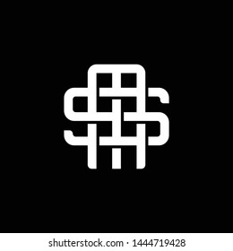 Initial letter S and M, SM, MS, overlapping interlock monogram logo, white color on black background