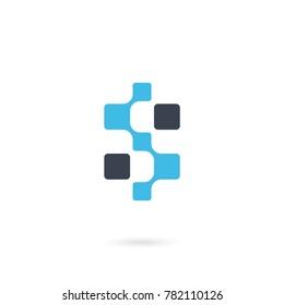 Initial Letter S. Neuron Technology logo. Integrate technology