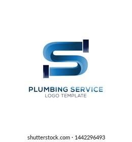Initial letter S plumbing industrial logo design vector
