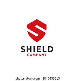 Initial Letter S Shield Secure Safe logo design inspiration