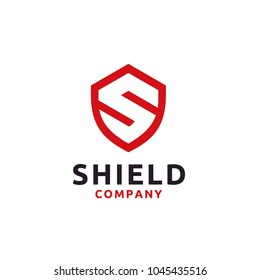 Initial Letter S Shield Secure Safe logo design inspiration