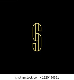 Initial letter S SS  GJ JG CJ JC minimalist art logo, gold color on black background.