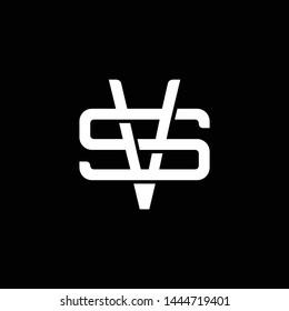 Initial letter S and V, SV, VS, overlapping interlock monogram logo, white color on black background