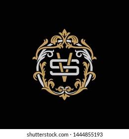 Initial letter S and V, SV, VS, decorative ornament emblem badge, overlapping monogram logo, elegant luxury silver gold color on black background