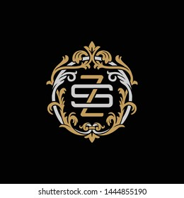 Initial letter S and Z, SZ, ZS, decorative ornament emblem badge, overlapping monogram logo, elegant luxury silver gold color on black background