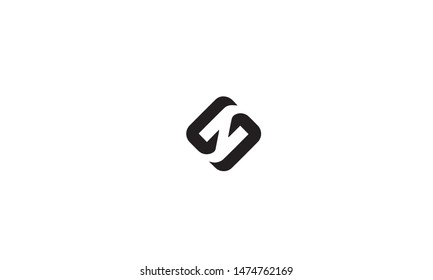 Initial letter S and Z, SZ, ZS, overlapping interlock monogram logo, white color on black background