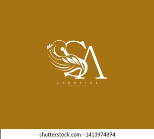 Initial Letter SA Linked Beauty Flourishes Monogram Gold Background
