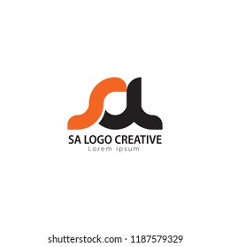 Initial Letter SA Linked Circle Lowercase Logo Black orange Icon Design Template Element.you can change the color