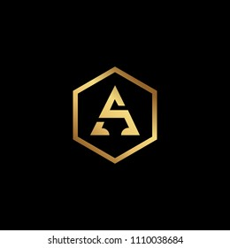 Initial letter SA AS minimalist art hexagon shape logo, gold color on black background