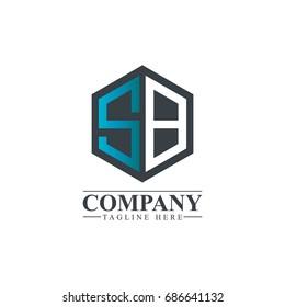 Initial Letter SB Hexagonal Design Logo