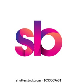 Initial Letter SB Logo Lowercase, magenta and orange, Modern and Simple Logo Design.